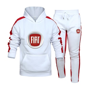 2021 spring and autumn FIAT car logo men's fashion hip-hop casual sports suit hooded/sweater + pants jogging sportswear