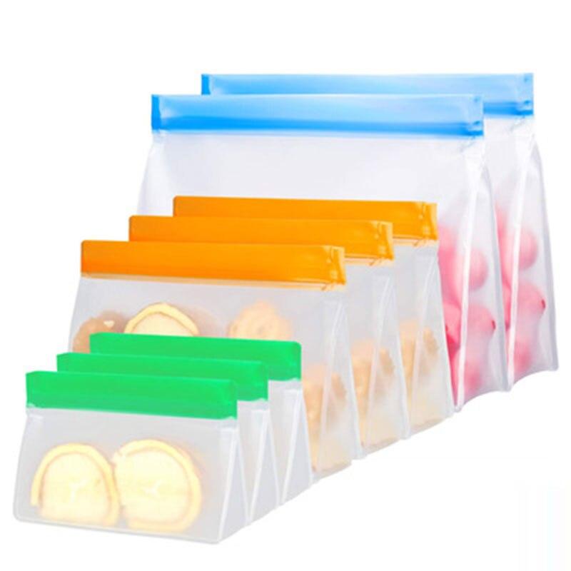 Bolsa de armazenamento de alimentos translúcida, feita em silicone, reutilizável, para armazenamento de alimentos