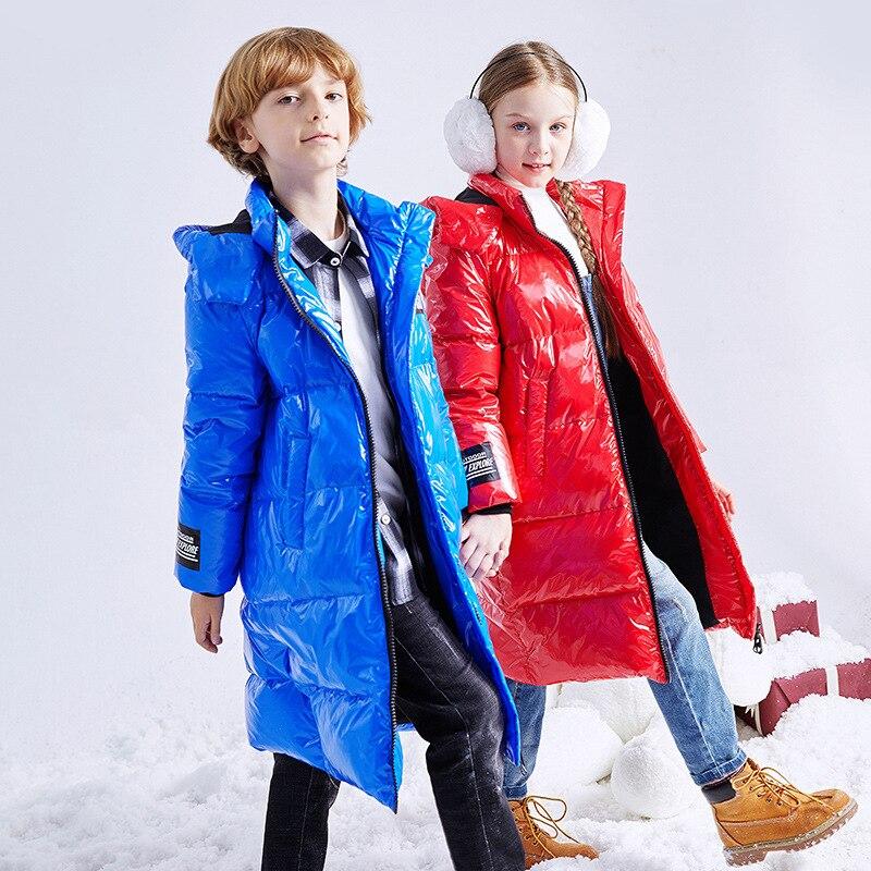 Inverno 2020 nova moda das crianças para baixo jaqueta-30 graus inverno crianças longo casaco menino à prova dthick água grosso casaco menina aquecer para baixo jaqueta