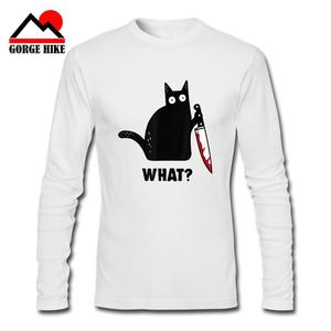3D Cat What Funny Black Cat Long Sleeves witness Shirt Murderous Cat With Knife Black T-Shirt M-Xxxl Loose Size Top Killer Tees