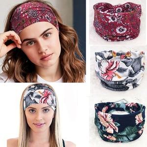 Floral Print Turban Knot Headwrap Sports Elastic Yoga Hairband Fashion Cotton Fabric Wide Headband Women Hair Accessoires