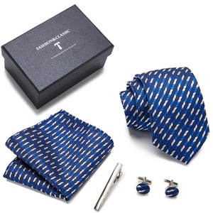 High Grade Wholesale Mix Colors Hot sale Wedding Present Silk Necktie Set Tie Box Dropshipping Gray Fit Business