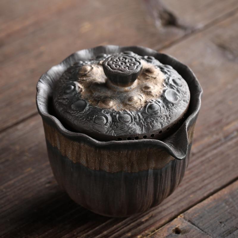 Tetera Kungfu tetera, olla hecha a mano, taza de viaje taza de ceramica creativas