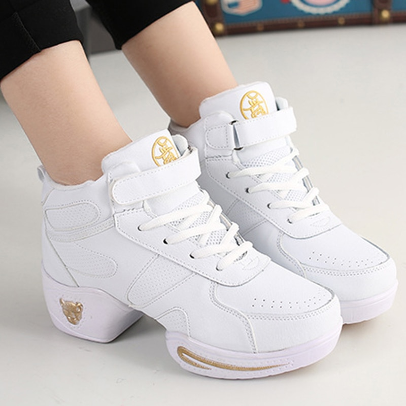Comfortable Women Fashion Leather Modern Soft Bottom Dance Shoes Jazz Aerobics Athletic Sneakers Spo