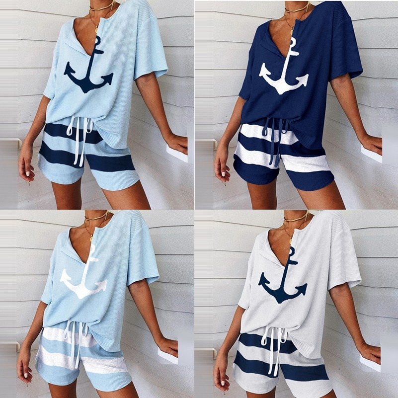 2020 Summer Women Sets Beach Print Short Sleeve Casual V Neck Two Piece Set Crop Top And Shorts Drawstring 2 Piece Set Outfits