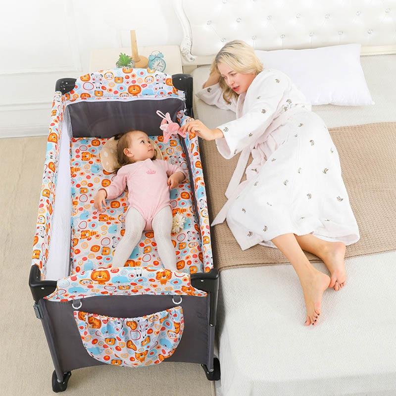 Luxury Crib Brotish Splicing 125cm Large Removable Multi-function Portable Folding Newborn Baby Sleep Bedside Bed Cradle Bed enlarge