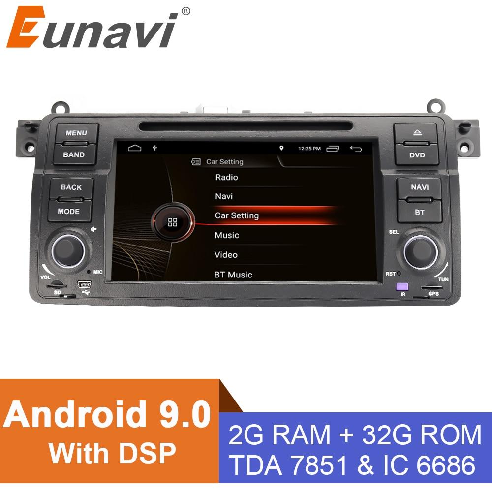 Eunavi Штатная магнитола андроид системный блок автомагнитола для БМВ BMW E46 M3 Ровер 3 серии 1 din DVD мультимедиа автомобиля головное устройство GPS TDA7851 2ГБ 32ГБ 4-ЯДЕР 7 дюймов с блютузом Wi-Fi Canbus
