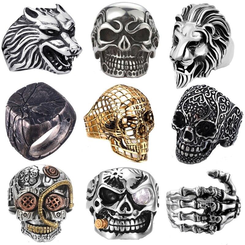 Free Fan Retro Gothic Punk Men Rings Trendy Skull Wolf Lion Dragon Male Rings Band Jewelry Boy Hoop Halloween Accessories