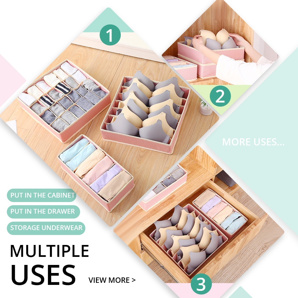 DINIWELL Home Storage Boxes For Ties Socks Shorts Bra Underwear Divider Drawer Lidded Closet Organizer Ropa Interior Organizador
