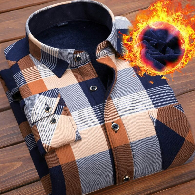 Зимнее плотное бархатное платье рубашка для мужчин повседневная с длинным рукавом клетчатая теплая флисовая подкладка рубашки модные мягк...