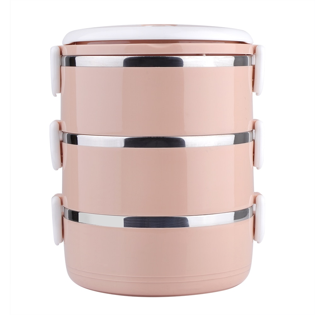 Stainless Steel 3-Layer Thermal Lunch Box Stackable Leakproof Lunch Box For Kids School Outdoor Food Container