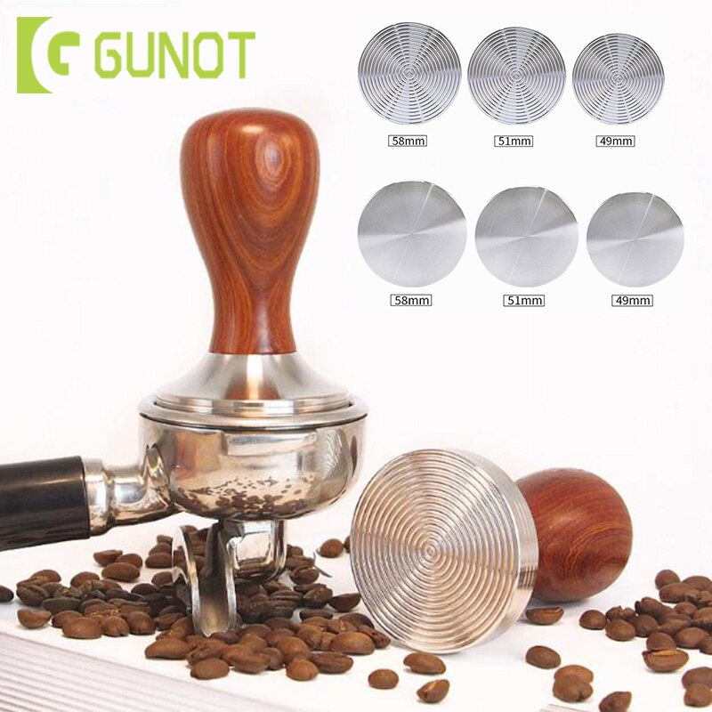 GUNOT de acero inoxidable plano manipulador Manual titular de café manipulador 51mm molinillo de café herramientas de prensa molinillo de café plano sólido