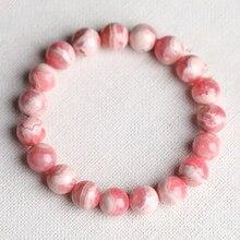 Bracelets en cristal naturel de Rhodochrosite de pierre de modèle rouge Bracelet de modèle de pêche rose bijoux en cristal populaires simples