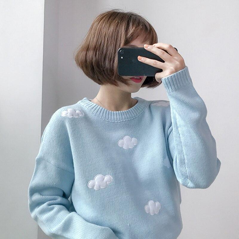 Jerséis Gagarich de invierno 2019 para mujer, ropa coreana, jerséis de nubes dulces, jersey de talla grande para mujer, Tops Kawaii