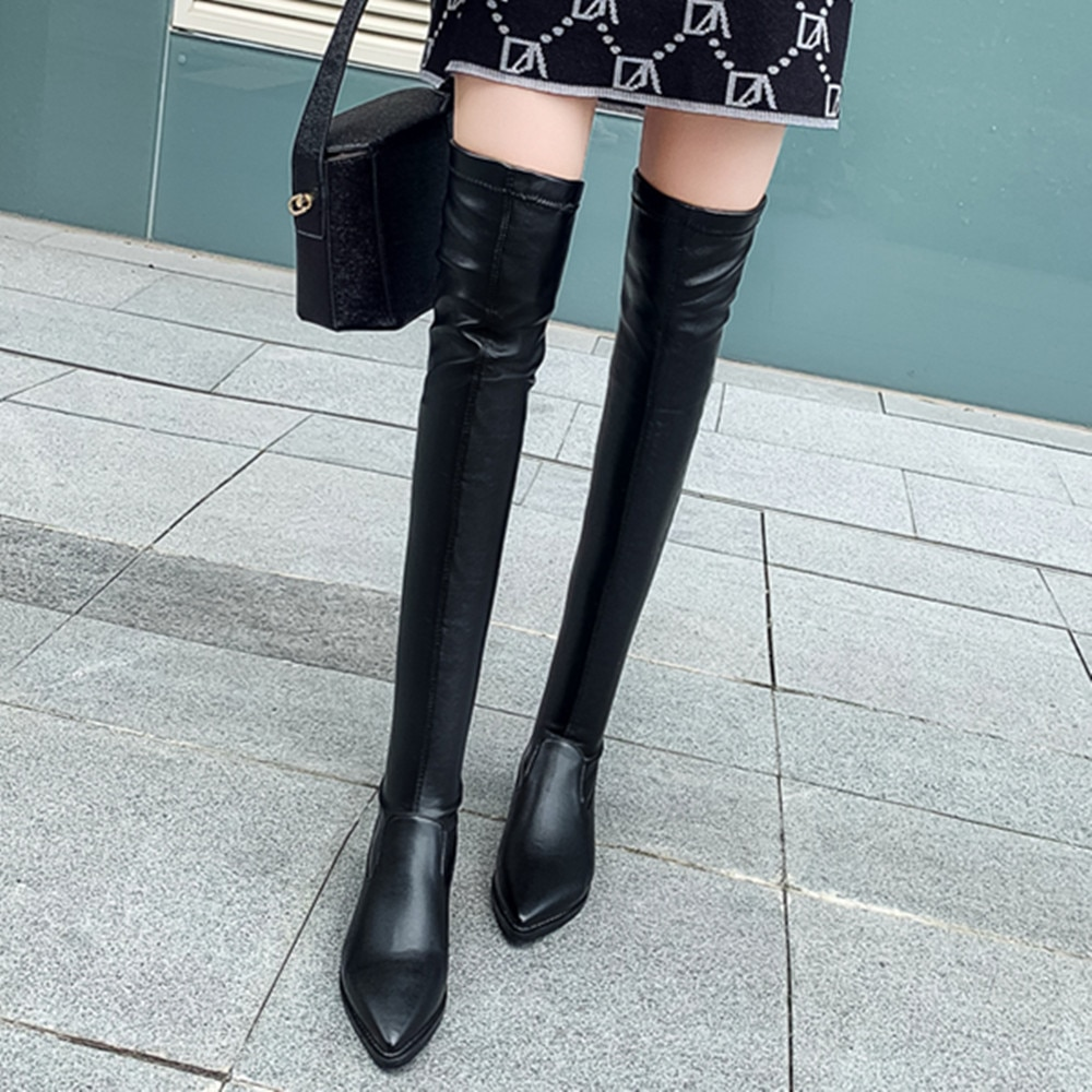 2019 New Shoes Women Boots Black Over the Knee Boots Sexy Female Autumn Winter lady Thigh High Boots