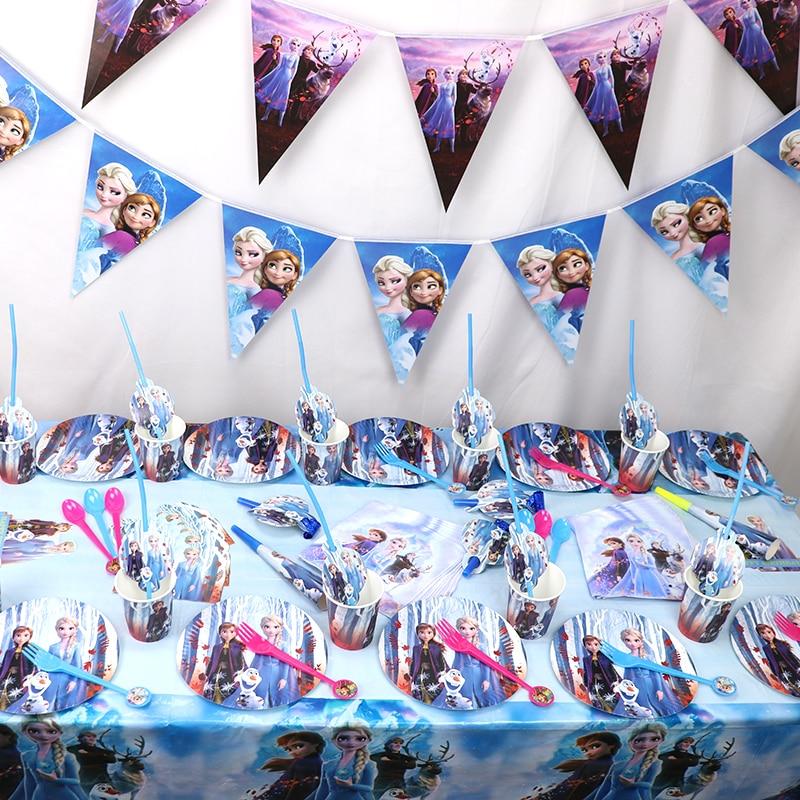 2 vasos de papel para fiesta de Frozen de Princess Frozen con 2 platos de pajita para decoración de cumpleaños de Elsa Anna