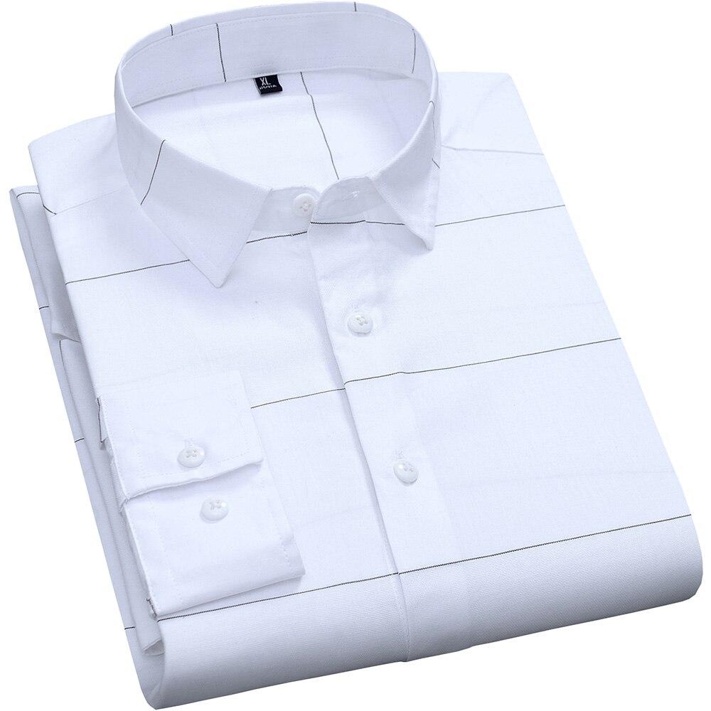 Camisas informales a rayas de algodón puro ajustadas blancas de manga larga para hombre camisa de diseño transpirable de moda para hombre