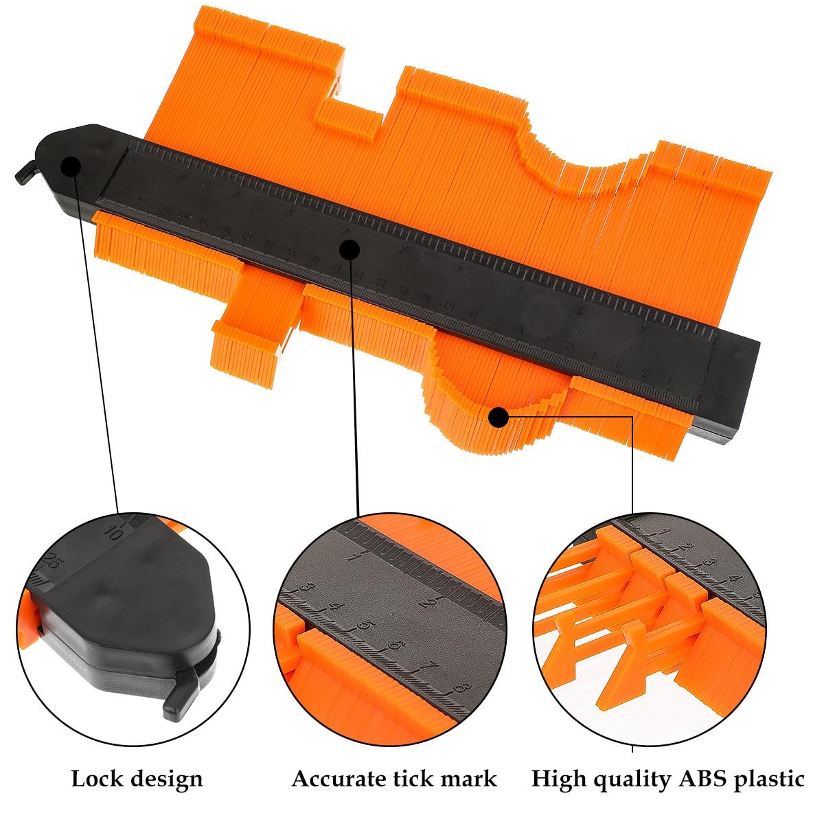 12/14/25cm Contour Jauge En Plastique Profil Copie Contour Jauges Standard Bois Marquage Outil Carrelage Stratifié Carreaux Tomber