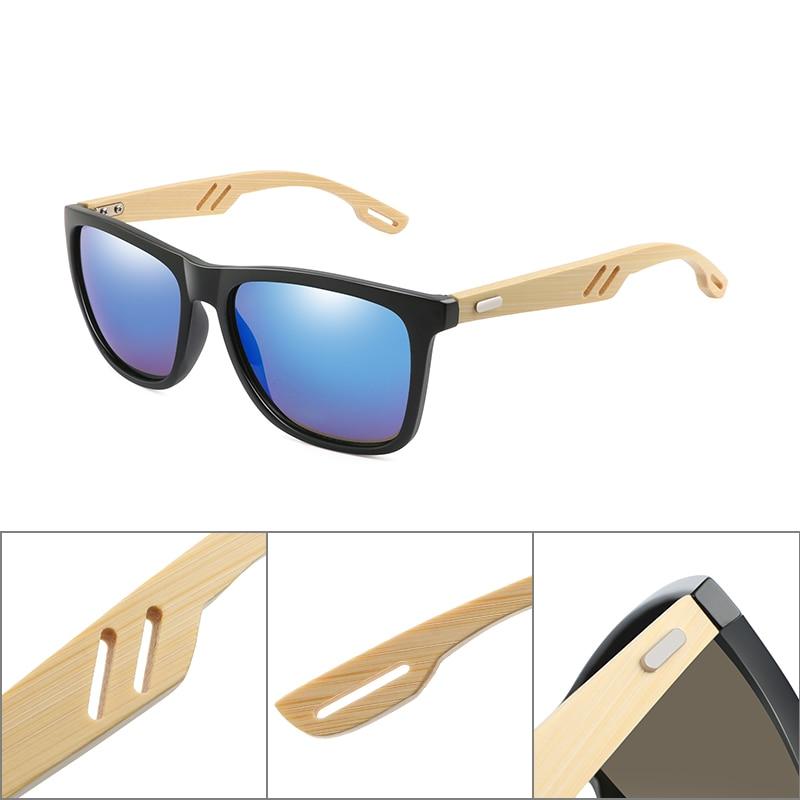 Брендовые дизайнерские бамбуковые деревянные солнцезащитные очки для женщин и мужчин, винтажные Квадратные Солнцезащитные очки, модные зеркальные солнцезащитные очки с покрытием UV400 Oculos de sol