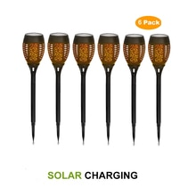2-8 Uds. Lámpara Solar de llama parpadeante, lámpara de césped, farola Solar Retro, 96 LED, impermeable, llama parpadeante, lámpara de jardín, paisaje
