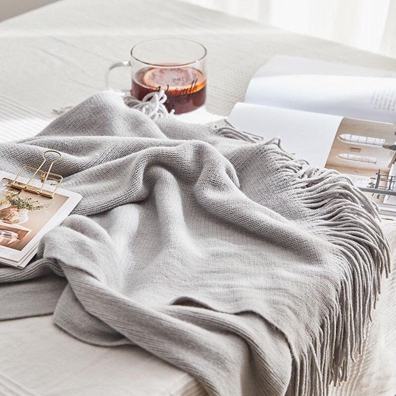 بطانية محبوكة على الطراز الاسكندنافي للسرير ، فائقة النعومة ، دافئة ، للمكتب ، مفرش سرير ، أريكة
