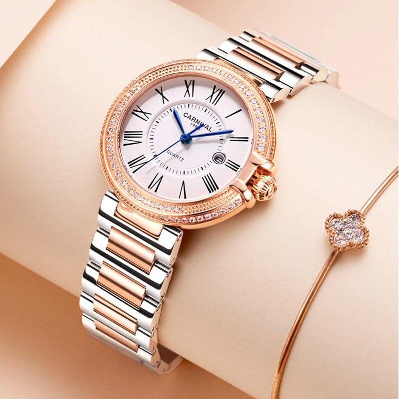 Reloj Mujer Switzerland CARNIVAL Brand Watches Ladies Fashion Waterproof Luxury Casual Quartz Wristwatch Women 2021 Montre Femme enlarge