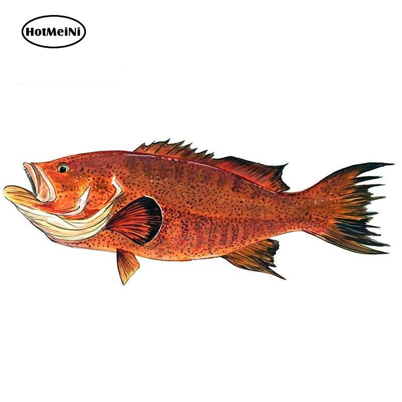 HotMeiNi, 13cm x 5cm, pegatina de pez de Grupo Rojo, equipo de casco, nevera, pesca, caza, Océano, pegatinas de coche resistentes al agua