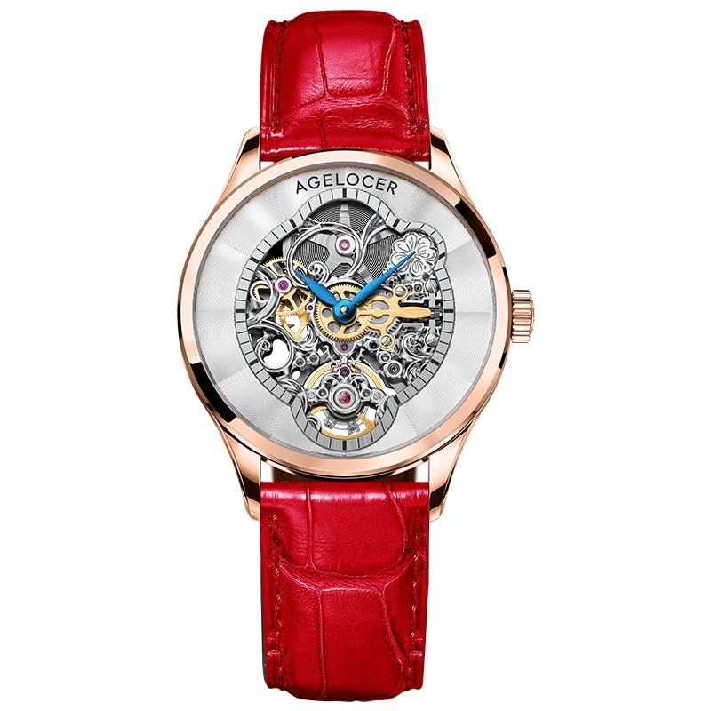 AGELOCER New Fashion Women Mechanical Watch Skeleton Design Top Brand Luxury Waterproof Female Automatic Clock Montre Femme 2021 enlarge
