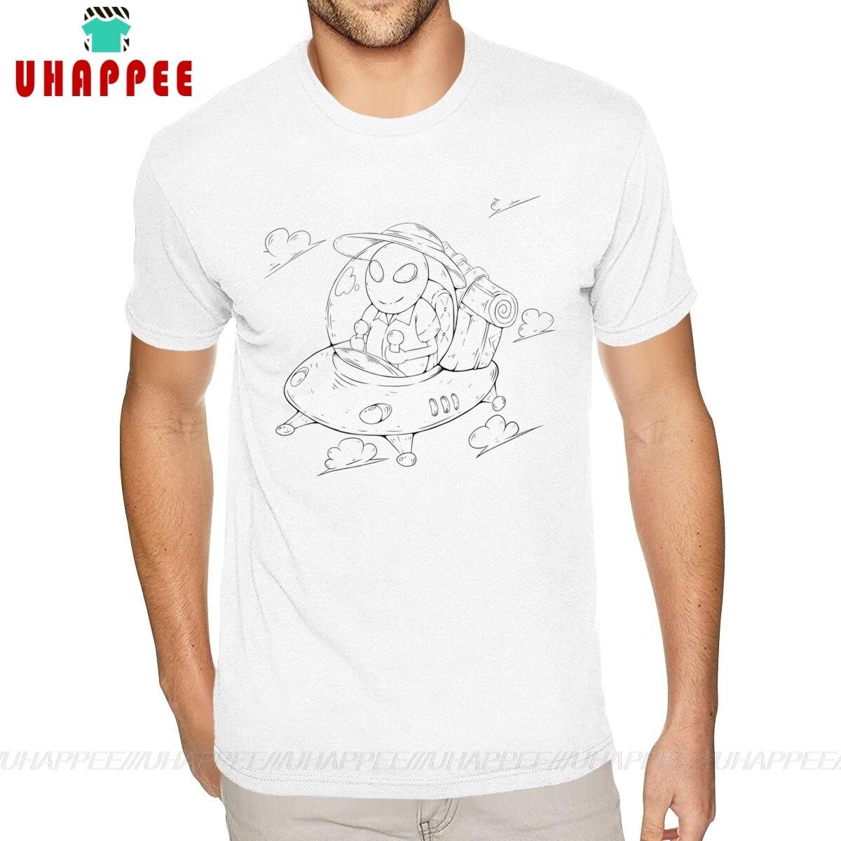 Verano Alien vacaciones Fly Travel camiseta libertad manga corta Hombre chico 5XL camiseta blanca