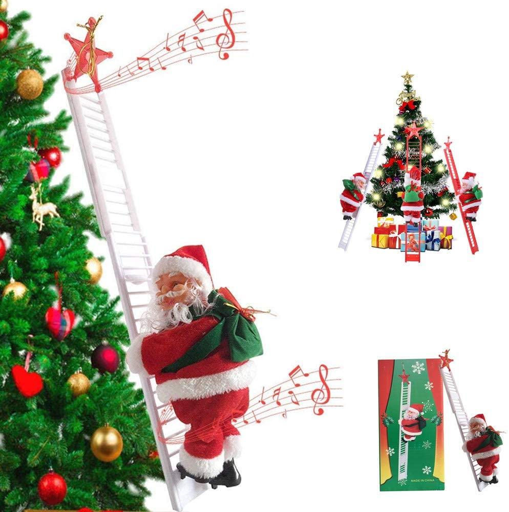 Christmas Electric Santa Claus Music Climbing Ladder Doll Xmas Kids Gift Climbing Santa for Home Bir