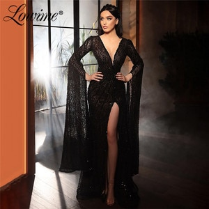 Deep V Neck Haute Couture Black Evening Dresses Long Sleeves Arabic Prom Dresses Mermaid High Split Side Women Party Night Gowns
