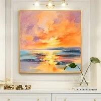 Peinture a lhuile solaire abstraite peinte a la main sur toile  decoration murale sans cadre  pour salon  cadeau de decoration pour la maison  100
