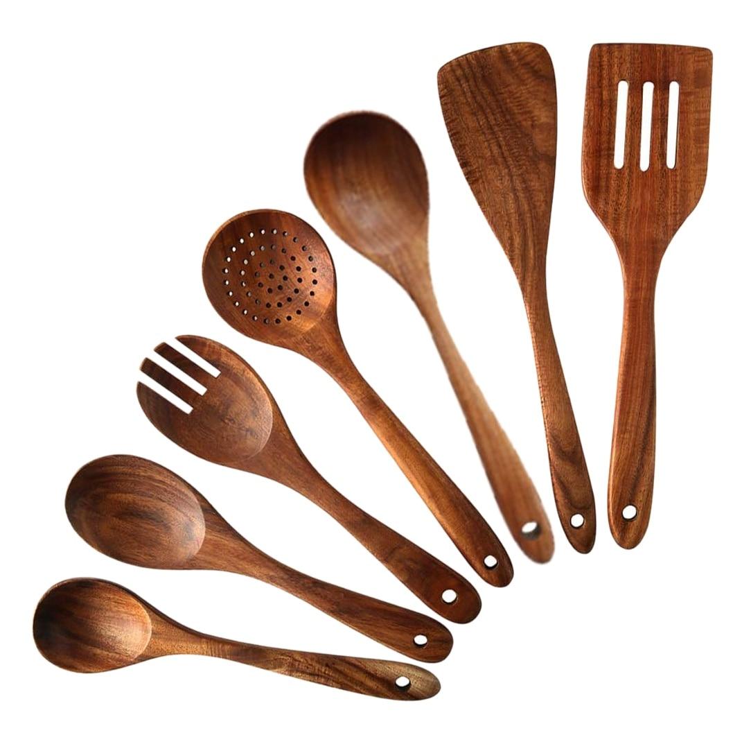 7 قطعة خشب الساج خشبية أواني الطبخ للمطبخ ، ملاعق غير لاصقة وملعقة تجهيزات المطابخ للمنزل والمطبخ