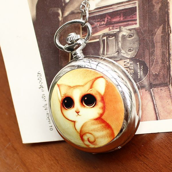 2020 Retro Style Women Pocket Watch Cute Cat Ceramic Pocket Watch Chinese Style Nostalgic Necklace Pocket Watch Relogio Feminino