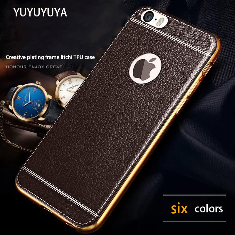 YUYUYUYA para iPhone SE 2020 X XS MAX XR 6 6S 7 8 Plus 11 pro max chapado en oro litchi caso femenino negocio suave masculino funda móvil