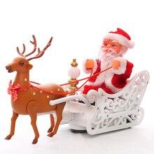 Kerst speelgoed Rendier Santa en slee elektrische Santas sleigh model Speelgoed auto Muzikale kids Xmas speelgoed gift Herten Kerstman kerstman speelgoed