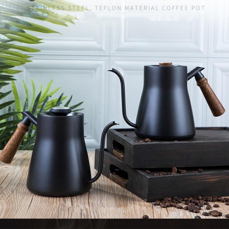 غير القابل للصدأ وعاء لتقديم القهوة من الفولاذ بالتنقيط القهوة وعاء طويل Gooseneck صنبور صب أكثر من غلاية مع/بدون ميزان الحرارة 2 نوع الخيارات