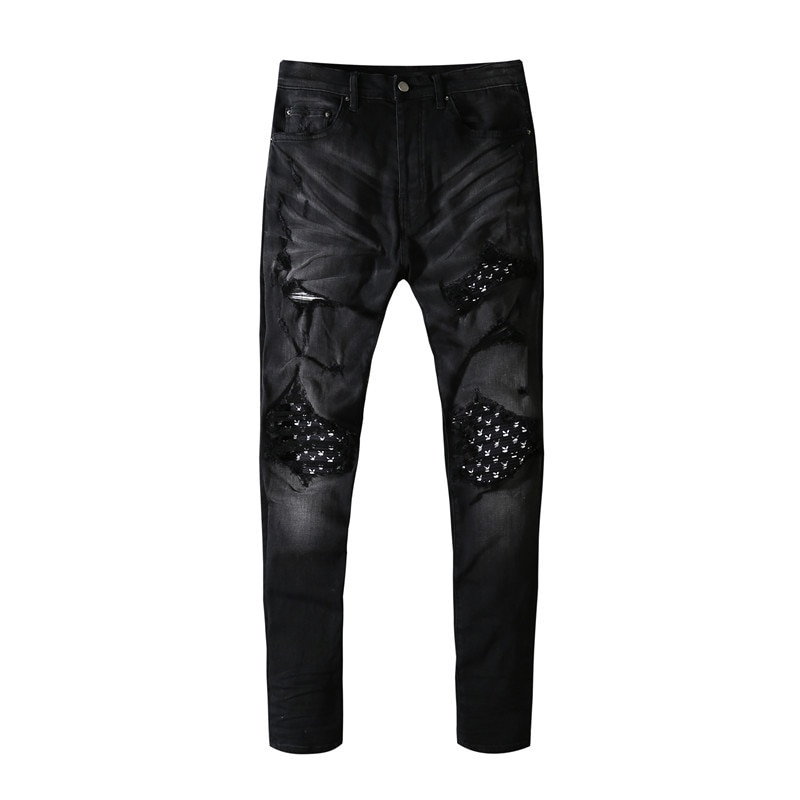American Famous Brand AMR Patch Washed Vintage Ripped Jeans Men Trousers Cargo Pants Men's Clothing Techwear Pants for Men