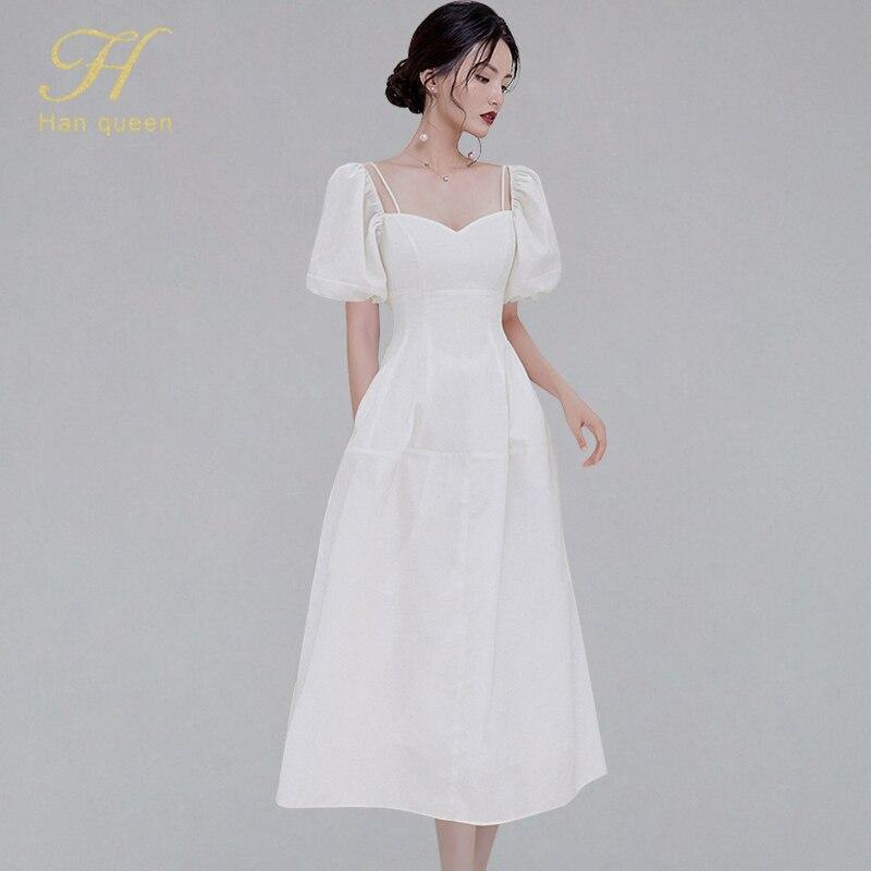 H Han Queen New Women White Summer Dresses Elegant Slim A-line Long Dress Fashion Runway Vintage Business Casual Work Vestidos
