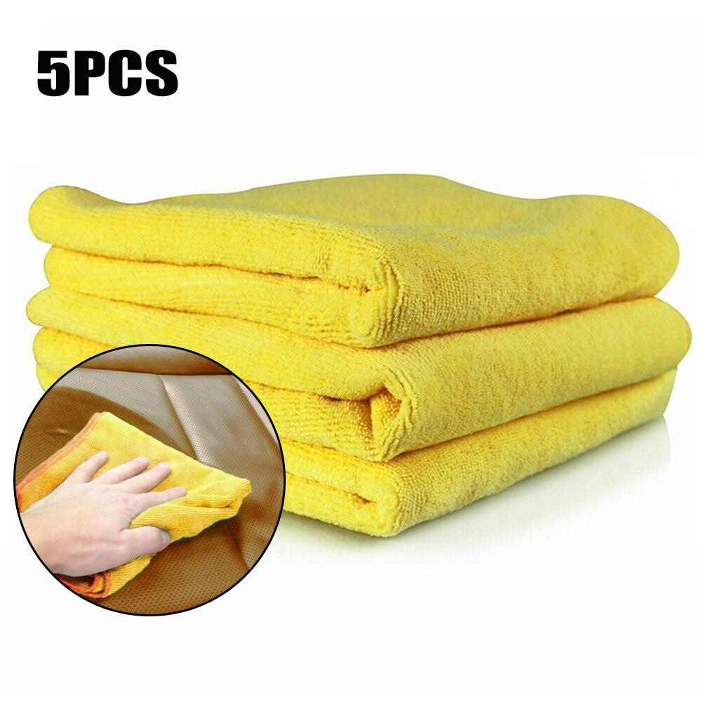 5 pçs/set 40x40cm 300GSM Secagem Pano de Prato Lavagem Do Carro Toalha de Pano Amarelo