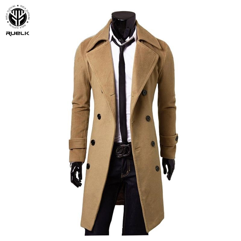 RUELK 2020, otoño e invierno, mono de talla grande para hombres, chaqueta de abrigo de lana de un solo lado, Chaqueta larga de doble botonadura, rompevientos para hombres