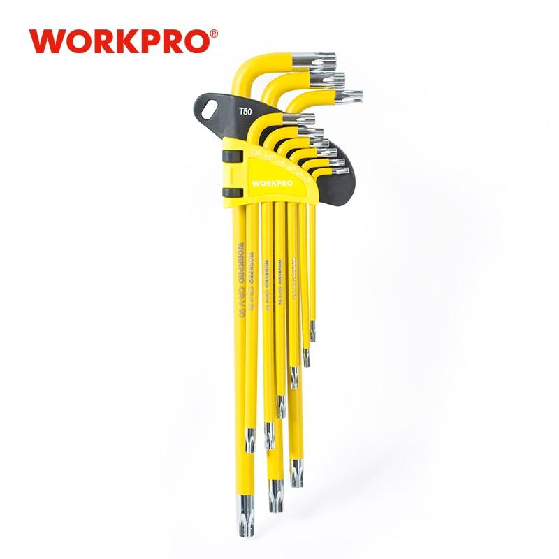 WORKPRO 9PC Universal Hex Key Wrench Set Long Arm/Short Arm Torx Key Set Metric SAE Ball Point Key Set