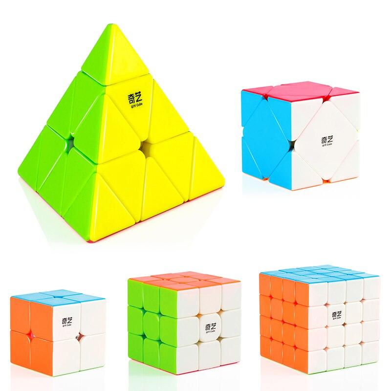 2x2x2 3x3x3 4x4x4 5x5x5 skew Piramide di Velocità Professionale di Base Cubo Magico di Puzzle Di Torsione Cubo Educativi Classici Giocattoli Per I Bambini