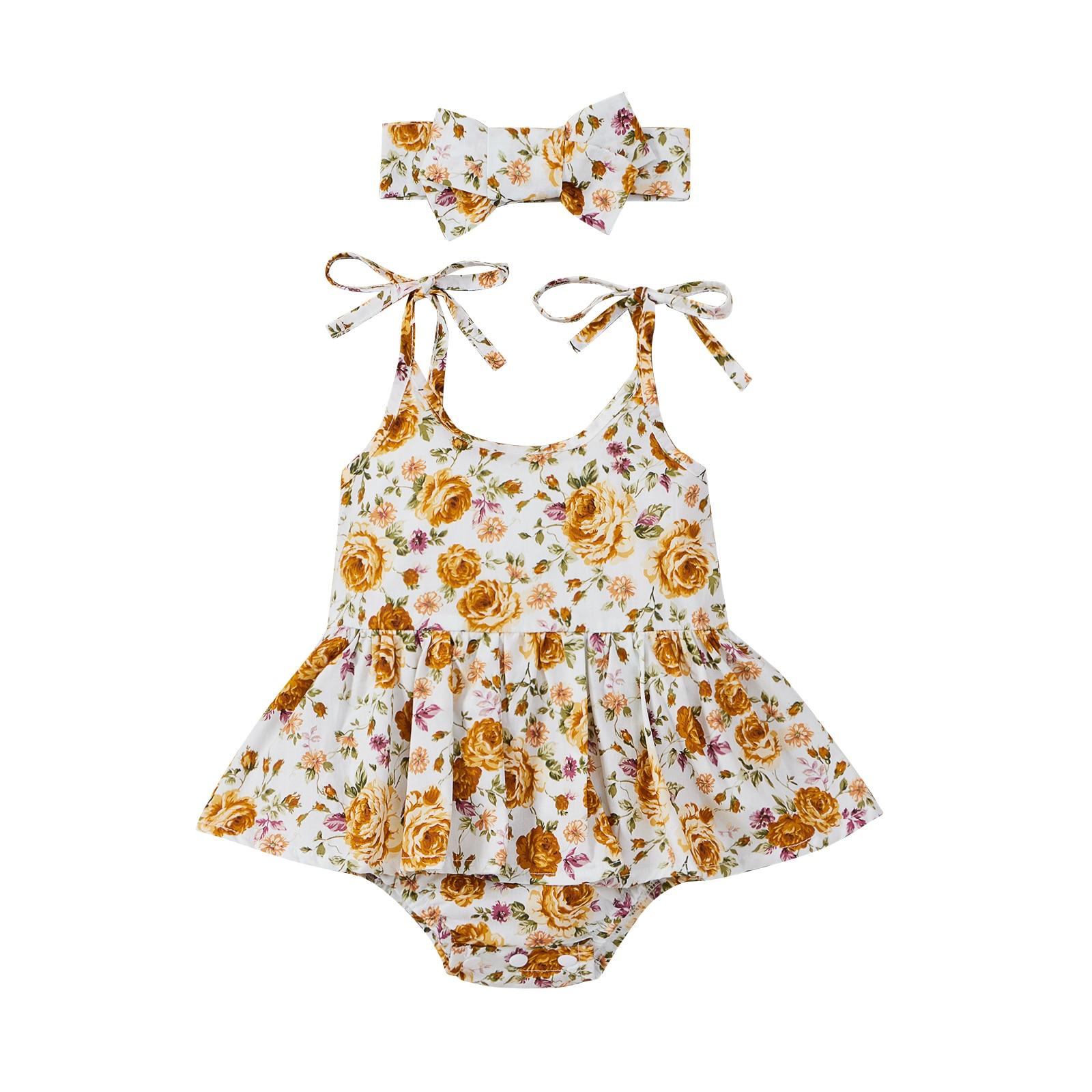 OPPERIAYA Baby Girls Summer Outfits Ruffle Cute Self Tie Strap Sleeveless Floral Tutu Bodysuit with Bow Headband Casual Set self tie ruffle bikini set