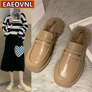 Loafers Wearing 2021 Autumn and Winter New Korean Version of A Flat Foot with British Wind Covered Head and Half Slippers