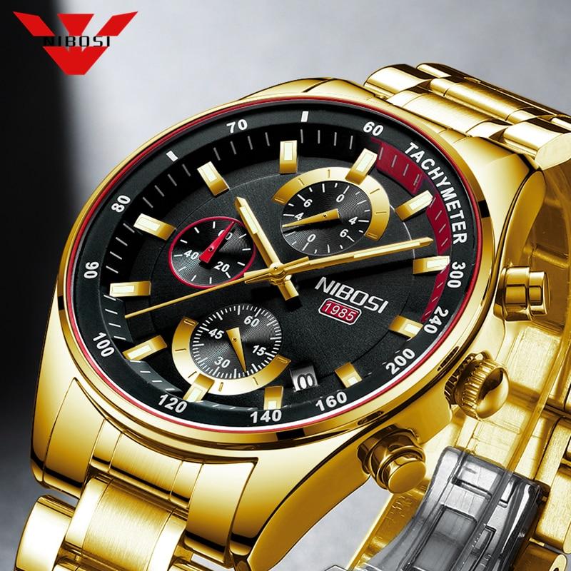 NIBOSI Fashion Mens Watches Top Brand Luxury Wrist Watch Quartz Clock Gold Watch Men Waterproof Chro