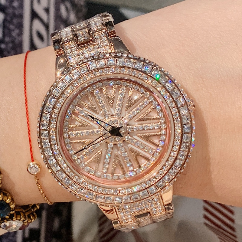 Women Rhinestone Watches Lady Rotation Dress Watch Luxury Brand Big Dial Bracelet Wristwatch Crystal Watch montre femme 2019 New enlarge