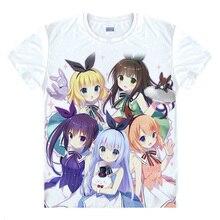 Gochuumon wa Usagi desu ka Anime Cosplay imprimé cafuu Chino T-shirt été respiration t-shirts unisexe hauts t-shirts occasionnels