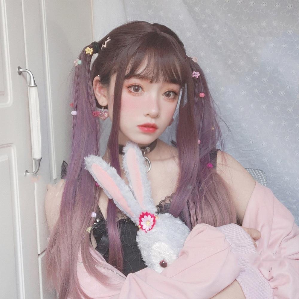 MANWEI peluca púrpura negro mezclado pelucas Lolita peluca larga suelta de la onda Cosplay Halloween Harajuku Peluca de pelo sintético resistente al calor