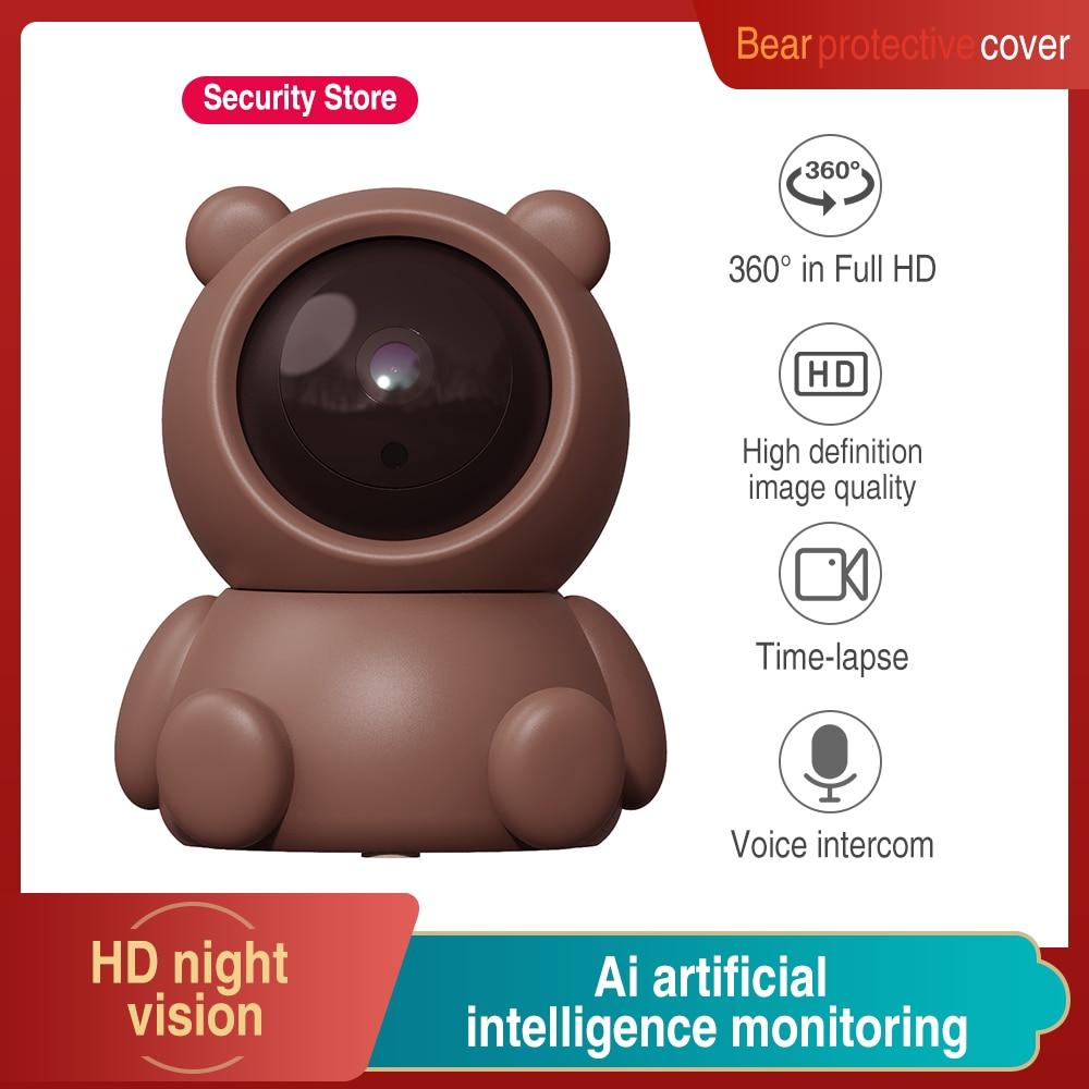 HD1080P واي فاي كاميرا IP كاميرا متحركة لاسلكية أمن الوطن كاميرا صغيرة داخلي الأشعة تحت الحمراء للرؤية الليلية مراقبة YCC365 الدب مجموعة الكاميرا